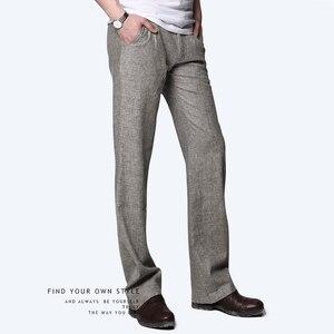 Image 2 - Markless cienki len męskie spodnie męskie komercyjne luźne dorywczo spodnie biznesowe odzież męska proste płynne spodnie męskie