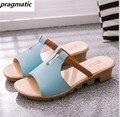 Мода женщин сандалии летние женские туфли случайные клинья платформы Сандалии дамы сандалии на низком каблуке леди пляжные тапочки