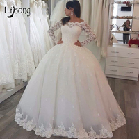 White Appliuqes Long Sleeves Puffy Wedding Ball Gowns Dresses Custom Made Princess Bridal Formal Maxi Gown