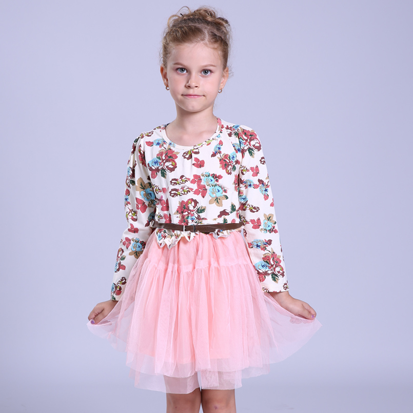 Girl Dress Cotton Floral Spring Autumn Fashion Princess Dress Kids Clothes Children Party Dresses For Girls 4 6 8 9 10 12 Years дождевики reisenthel дождевик mini maxi stonegrey dots