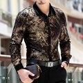 Hot 2015 новых осень и зима Большой размер мужской одежды загущающие тепловые с длинными рукавами рубашки тонкий золотой бархат печать рубашка