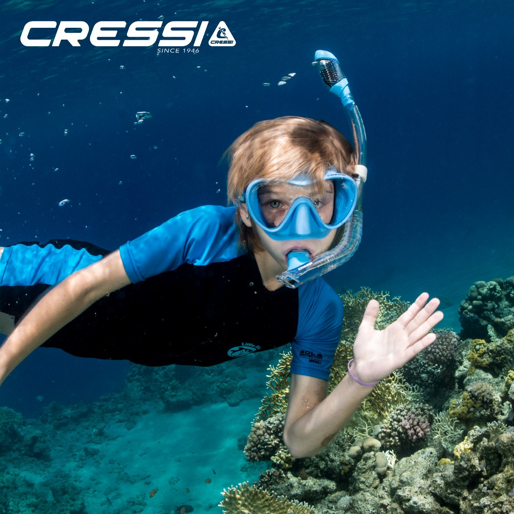 Cressi F1 Small Mini Dry Children Snorkeling set Diving Mask Dry Snorkel for Kids 9 14