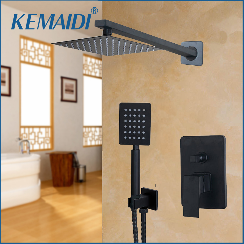 KEMAIDI Bathroom LED  Shower Head Black 8 10 12 16 Inch Wall Mounted Bathroom Rainfall faucet Shower Faucet & Hand Shower Set