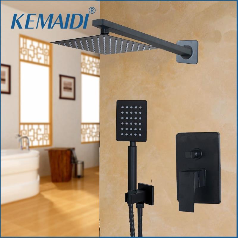 KEMAIDI LED de salle de bain pomme de douche noir 8 10 12 16 pouces mural salle de bains robinet de pluie robinet de douche et ensemble de douche à main