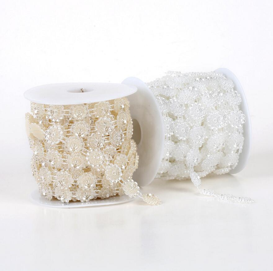 1 Spool Lotus Water Lily Shape ABS Pearl Garland Cake Banding Trim Ribbon For Sewing Wedding Party Centerpiece Decoration