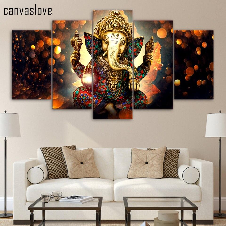 5 Piece Canvas Art HD Print Lord Ganesha Vinayaka Ganapati