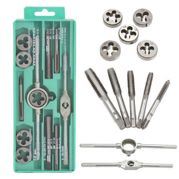 12pcs set Multifunction NC Screw Tap and Die Set External Thread Cutting Tapping Hand Tool Kit