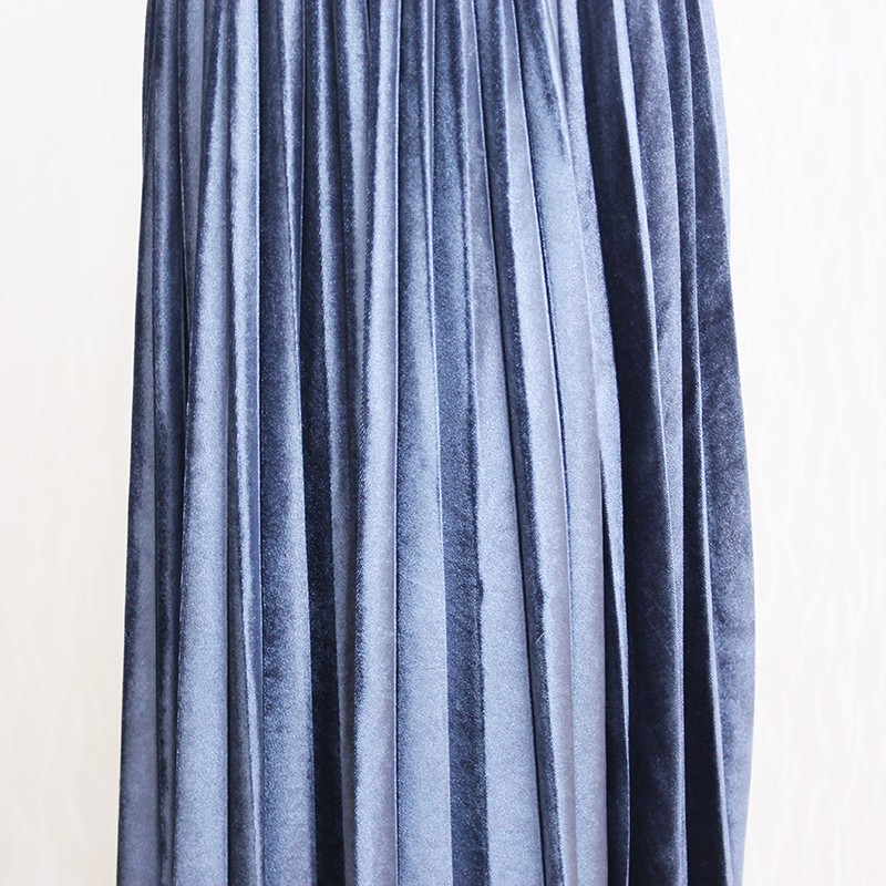 Women Long Metallic Silver Maxi Pleated Skirt Midi Skirt High Waist Elascity Casual Party Skirt 24