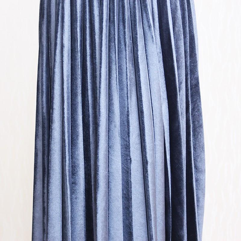 Women Long Metallic Silver Maxi Pleated Skirt Midi Skirt High Waist Elascity Casual Party Skirt 24