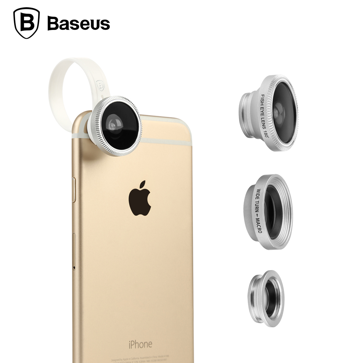 3C Specialty Store Baseus 180 Degree Fisheye Lens + 0.67x Wide Angle + 10x Macro Lens 3 in 1 Clip-on Camera Lens For iPhone 6 7 Samsung S7 Xiaomi