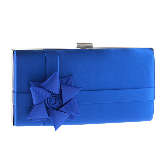 Korea Fashion Ribbons flower clutch bag hot sale chain shoulder bag flap women evening bag Elegant wedding party polyester purse