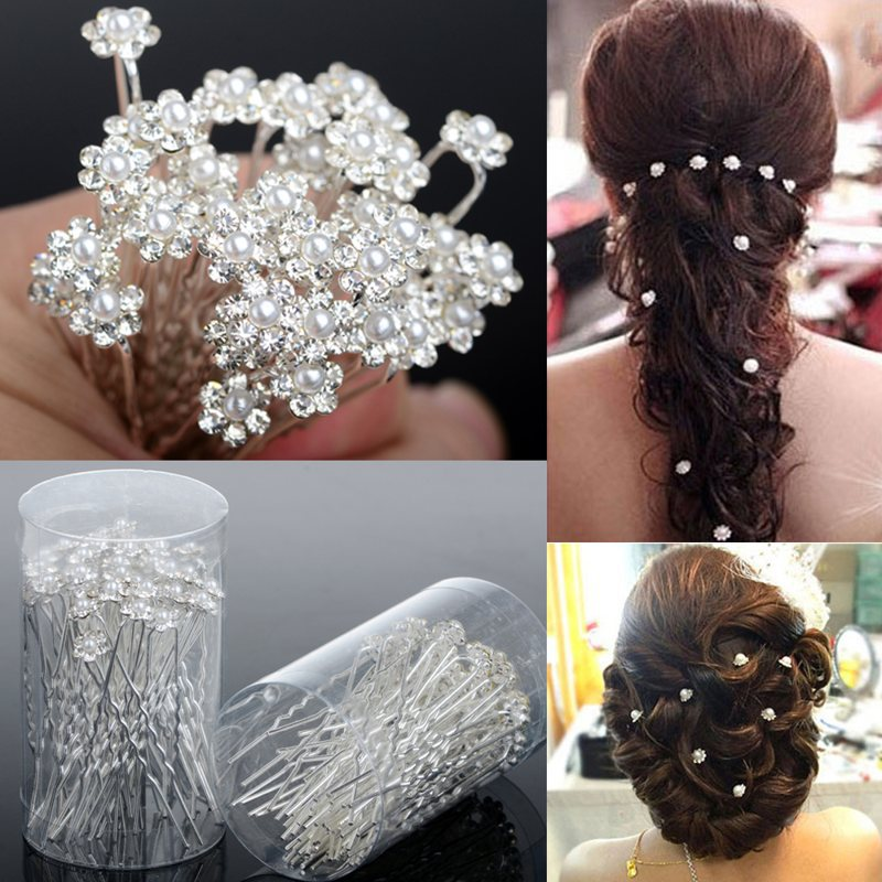 Flower Hair Pieces For Wedding: 40PCS Hot Wedding Hair Pins Crystal Pearl Flower Bridal