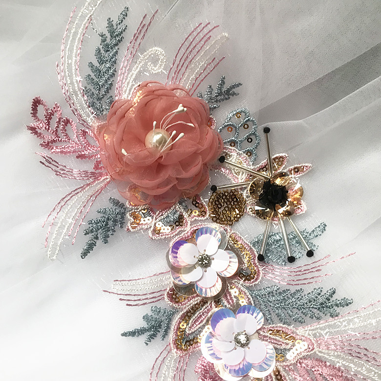 Color Sequins Embroidered Flowers Posted Clothing Dresses Children's Clothing Wedding Home Decoration Lace Accessories