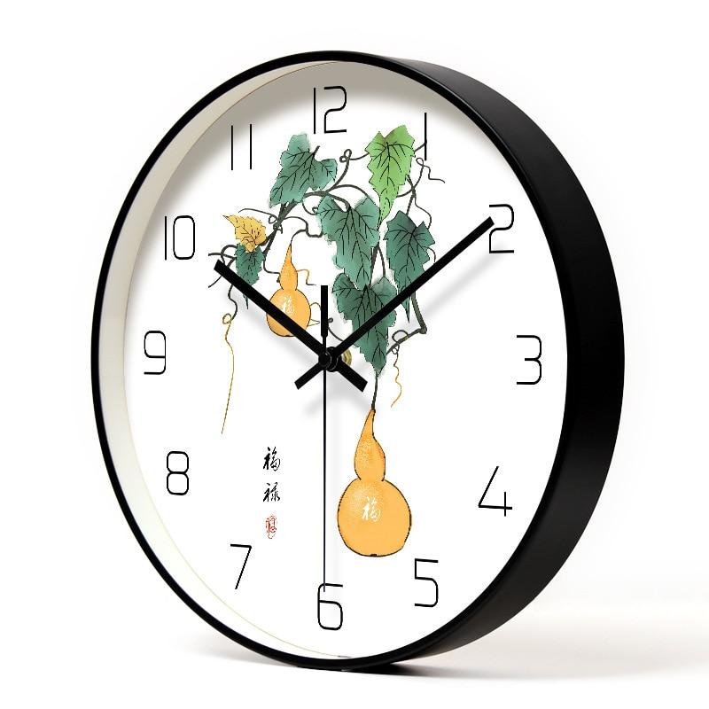 Chinois Élément En Métal Horloge Ménage Muet Salon Chambre Minimaliste Moderne Décoratif Mur Montre À Quartz Ronde Horloges