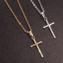 Hip Hop Kleine Kreuz Lange Anhänger Halskette Für Frauen Gold Silber Farbe Link Kette Choker Halskette Kragen Schmuck Party