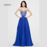 Sexy Sweetheart Royal Blue Long Prom Dresses 2017 Vestido Longo Women Mermaid Evening Formal Gowns