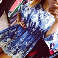 Summer Style Dress Women Maxi Dress Openwork Lace Stiching Embroidery Dresses Good Quality