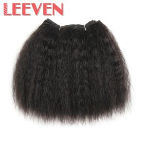 Leeven Weave-Bundles Wefts Short Synthetic-Hair Kinky Straight Sewing Black 1PCS Heat-Resistant-Fiber