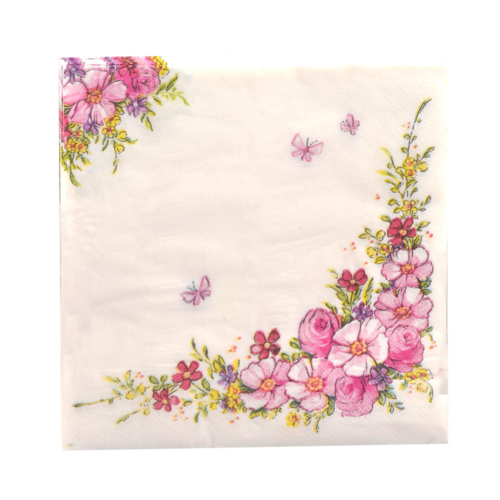 20pcs/pack Pink Flowers Beauty Design Paper Napkins Cafe & Party Tableware Tissue Napkins Decoupage Decoration Paper 33cm*33cm