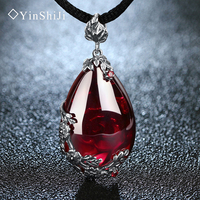 Jiashun 925 Silver Pendant Inlaid Garnet Necklace Pendant Retro Style Silver Ruby Sweater Chain