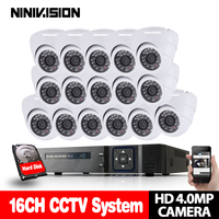 4MP CCTV System 16CH Hybrid AHD DVR with 16PCS 4MP AHD White Surveillance Camera Security System Kit Support P2P Plug and Play