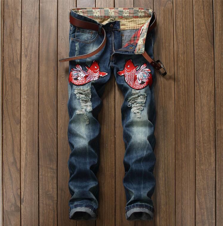 2017 Mens jeans New Fashion Men Casual Jeans High quality Embroidery Animal Jeans Long Trousers hot apple ipad mini 4 wi fi cellular 64gb gold mk752ru a