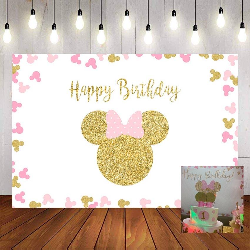 NeoBack fondos de fotografía personalizado Rosa Minnie Mouse fiesta de cumpleaños fondo personalizado fondo para decoración foto estudio Banner