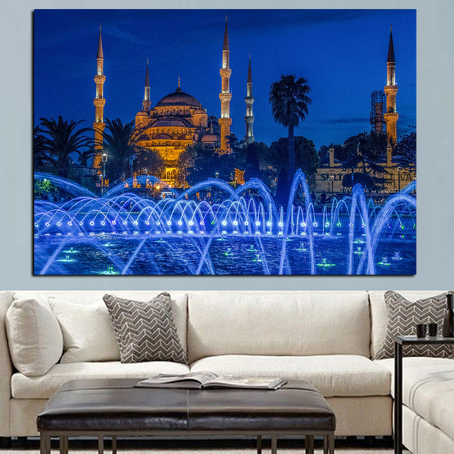 HD Print Islamic Blue Turkey Istanbul Sultan Ahmed Mosque Religious Poster On Canvas Wall Painting For