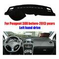 Для Peugeot 308 dashboard коврик защитная накладка даш мат крышка Photophobism Площадку автомобилей аксессуары для стайлинга кузова до 2013 Left hand drive