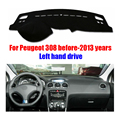 For Peugeot 308 dashboard mat protective pad dash mat cover Photophobism Pad car styling accessories before 2013 Left hand drive