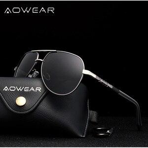 Image 3 - AOWEAR Polarized Sunglasses Men HD Driving Aluminum Mirror Sun glasses Brand Designer Aviation Eyewear Accessories gafas de sol