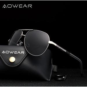 Image 3 - AOWEAR gafas de sol polarizadas para hombre, lentes de sol masculinas con espejo de aluminio HD para conducir, de diseñador de marca, accesorios de aviación
