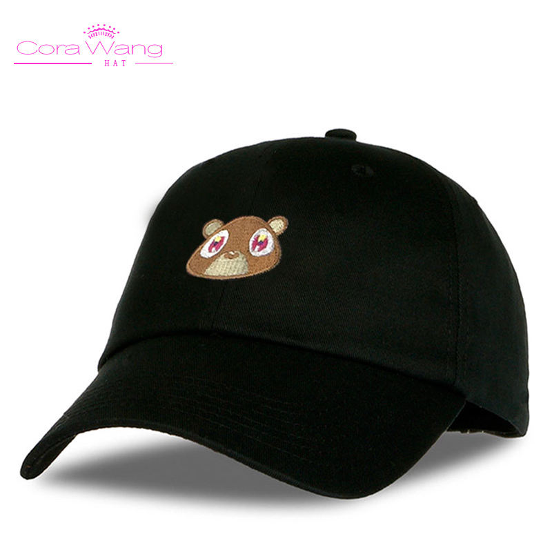 Cora Wang Snapback men's hats Baby Bear Embroidery Baseball Caps fitted cap Solid Color off white Pink Black women hat 2017 new fashionable cute soft black grey pink beige solid color rabbit ears bow knot turban hat hijab caps women gifts