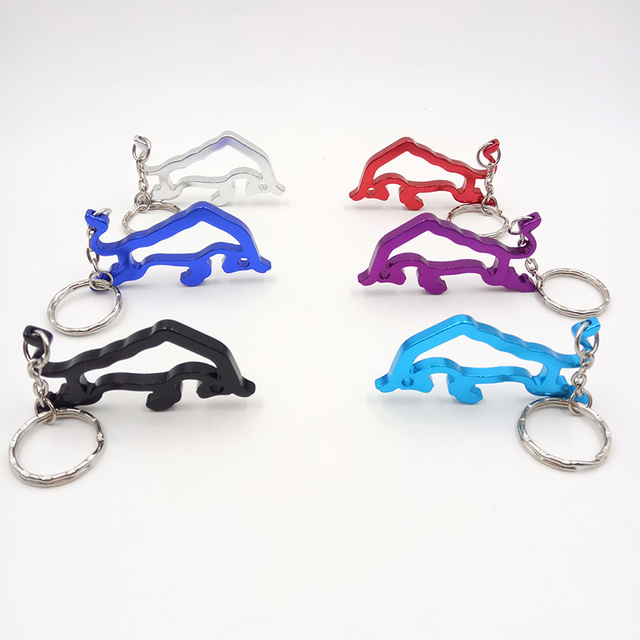 Creative Stylish Wine Beer Bottle Opener Outdoor Edc Metal Ox Bull Shaped Ring Key Chain Portable