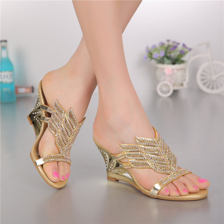 2016 Summer New Diamond Slope With High Heeled Wedges Online Shoes Sandals Size 11 Womens Golden Open Toe Slippers4