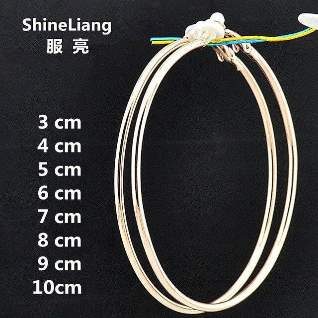 Grande círculo pequeno Rose gold Black Rodada Clipe na orelha Brincos de Argola para as mulheres com almofada almofada sem piercing moda jóias