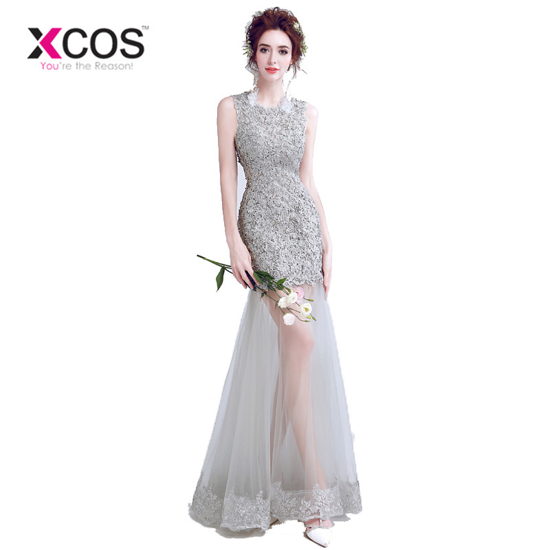 XCOS Elegant Grey Mermaid   Prom     Dresses   Lace   Dress   Sexy Women Appliques Beading Long Evening Gowns gala jurken
