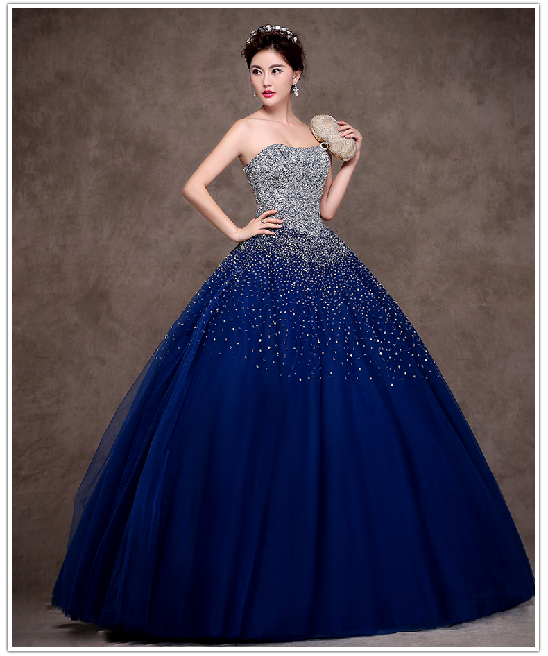 Dress Designs: Latest Design Navy Blue Quinceanera Dress 2015 Sweetheart