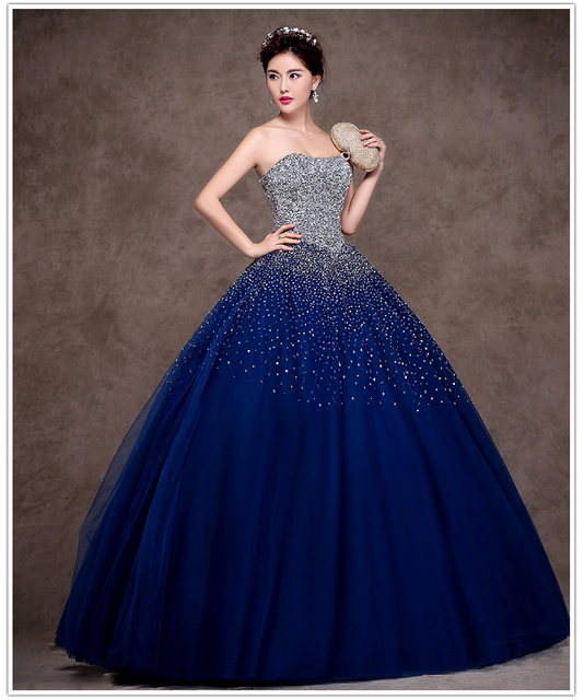 Latest Design Navy Blue Quinceanera Dress 2015 Sweetheart Masquerade ...