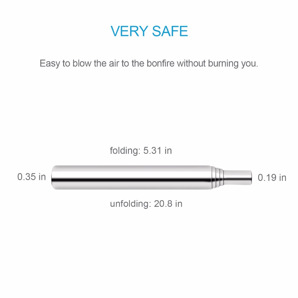 Image 2 - Collapsible Outdoor Blow Fire Tube, Stainless Steel Telescopic Gear Pocket Bellow by Blasting Air for Camping-in Parts & Accessories from Home & Garden