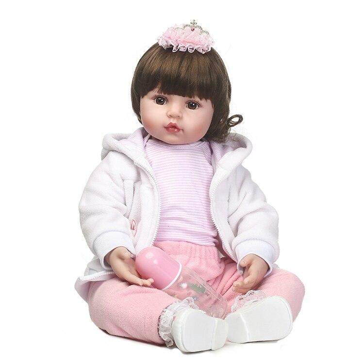 55 cm Silicone Reborn Bébé Poupée Jouets Simulation Vinyle Princesse Poupées Filles Cadeau D'anniversaire Jouer Maison Coucher Jouet Collection Poupées