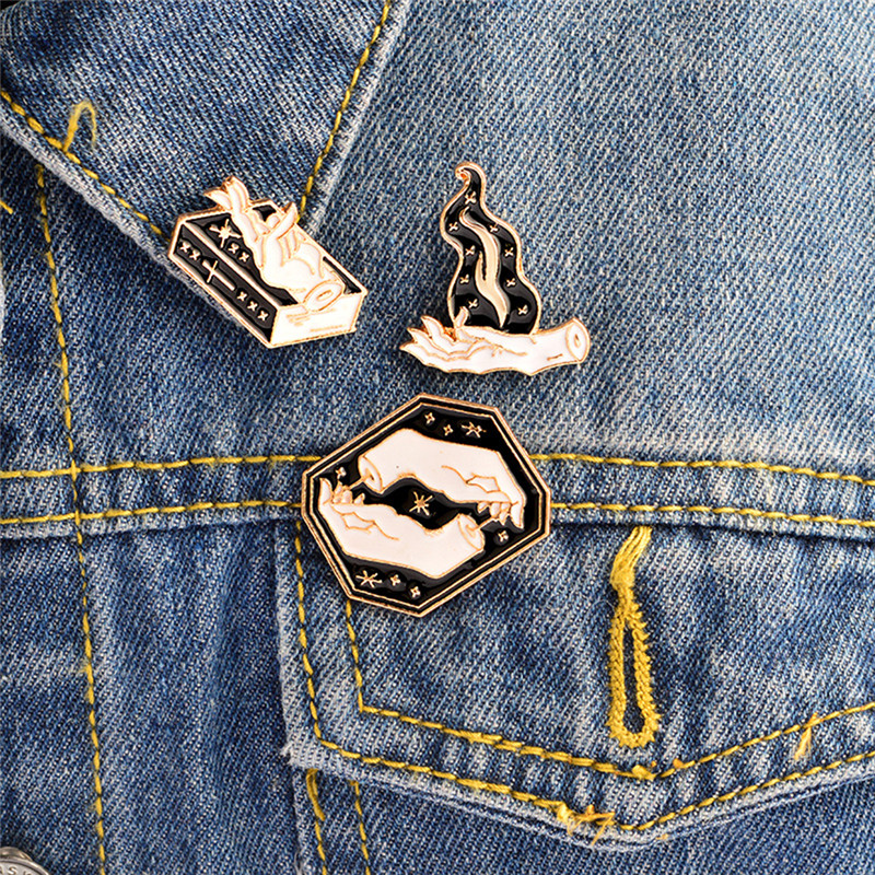 3pcsset Magic Gesture Brooch Book Fire Witchy Denim Pin Buckle Shirt Badge Fashion Gift For Friend
