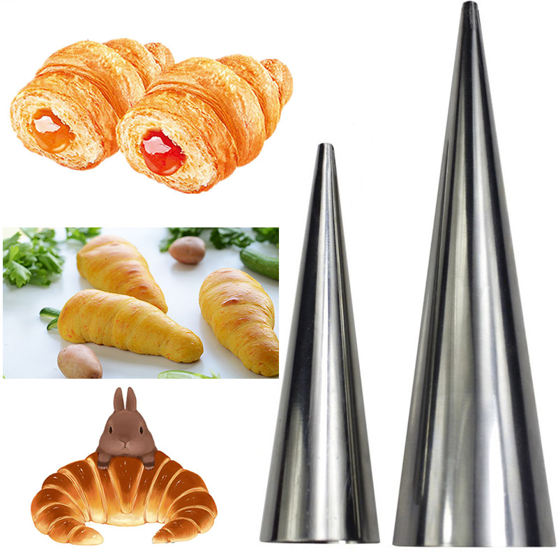 15pcs Diy Stainless Steel Horn Bread Baking Cake For Cream
