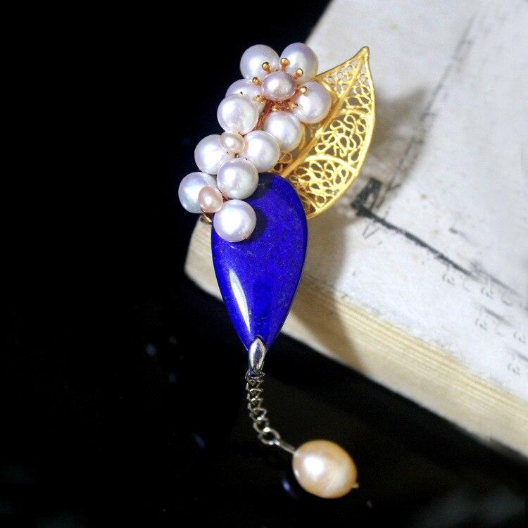Handmade custom brooch A511272 lapis lazuli pearl brooch pendantHandmade custom brooch A511272 lapis lazuli pearl brooch pendant