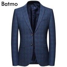 Batmo 2019 new arrival spring high quality cotton plaid casual blazer men font b men s
