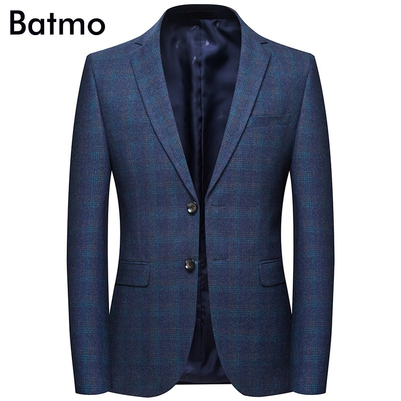 Batmo 2019 New Arrival Spring High Quality Cotton Plaid Casual Blazer Men,men's Suits Jackets ,casual Jackets Men 8120