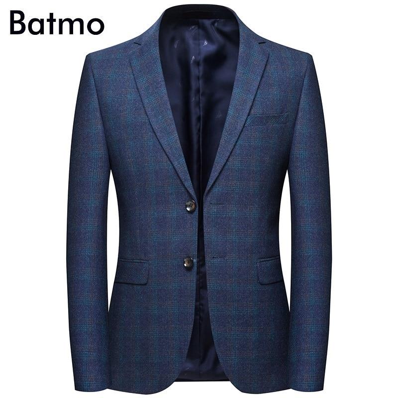 Batmo 2019 nieuwe collectie lente hoge kwaliteit katoen plaid casual blazer mannen, mannen suits jassen, casual jassen mannen 8120-in Blazers van Mannenkleding op  Groep 1