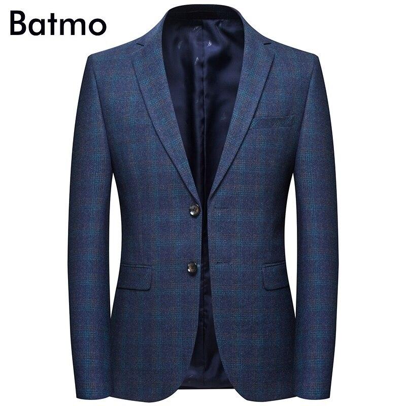 Erkek Kıyafeti'ten Blazerler'de Batmo 2019 yeni varış bahar yüksek kaliteli pamuk ekose casual blazer erkekler, erkek takım elbise ceketler, günlük ceketler erkekler 8120'da  Grup 1