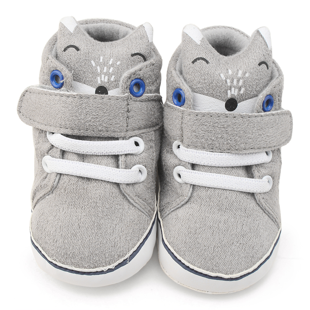 Baby Moccasins Infant Cute Fox Pattern Soft Sole Gray Shoes Hook & Loop NewBorn Toddler First Walkers