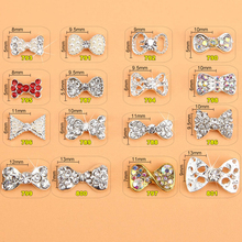 100PCS/Lot NEW 2017 Fashion Silver Gold Colors Metal Japanese 3D Nail Art Jewelry | Pearl Bow With Diamond 786-801